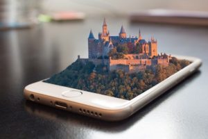 Chateau qui sort en 3D d'un telephone